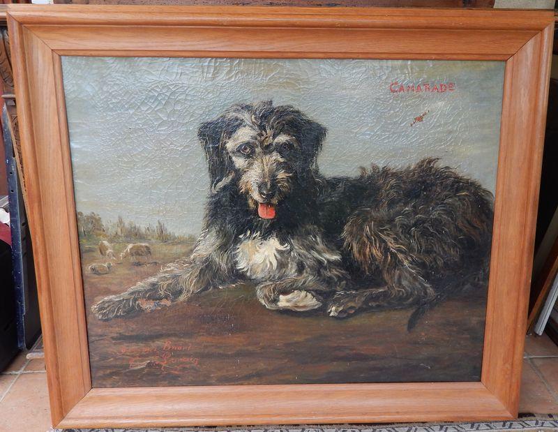 Tableau chien Signé CASIMIR LEMAIRE Taille 120X100 cm